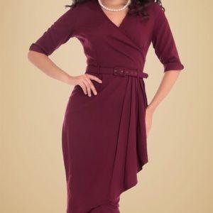 Collectif Vintage Edwina Faux Wrap Pencil Dress